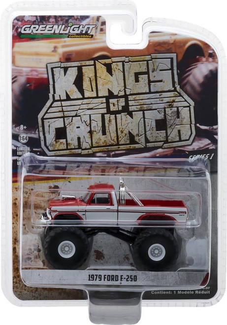 1:64 Kings of Crunch Series 1 - 1979 Ford F-250 Monster Truck - Maroon with White Stripes