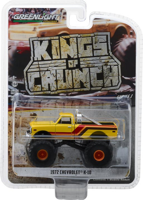 1:64 Kings of Crunch Series 1 - 1972 Chevrolet K-10 Monster Truck - Yellow, Orange, Red and Brown