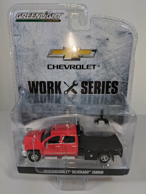 1:64 2018 Chevrolet Silverado 3500HD Dually 4x4 PKUP in Red Hot with Flat Bed