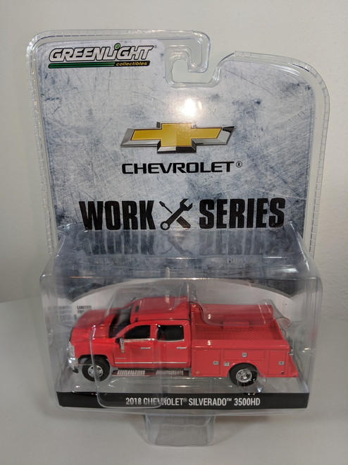 1:64 2018 Chevrolet Silverado 3500HD Dually 4X4 Red Hot Service Truck