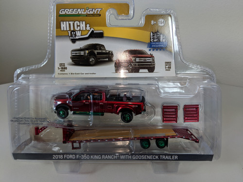 1:64 Hitch & Tow 2018 Ford F-350 King Ranch Dually PKUP-Ruby Red and Gooseneck Trailer Green Machine