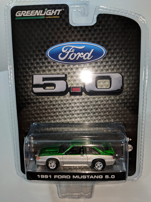 1:64 1991 Mustang GT 5.0 FB in Green and Silver Two Tone Green Machine, LBE Exclusive