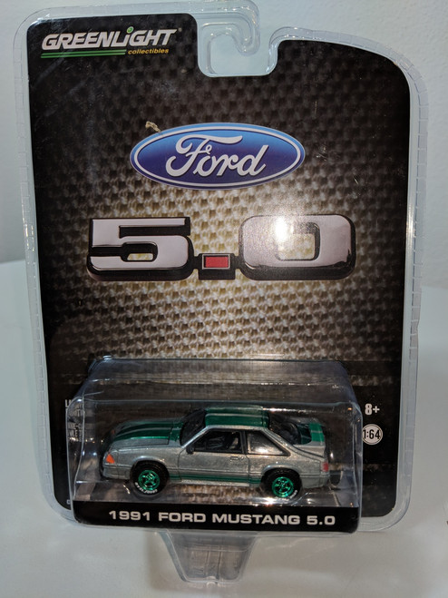 1:64 1991 Mustang GT 5.0 FB in Raw Metal with Green Stripes Green Machine, LBE Exclusive