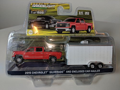 1:64 2015 Chevrolet Silverado in Red with Tool Box and Enclosed Car Hauler in White