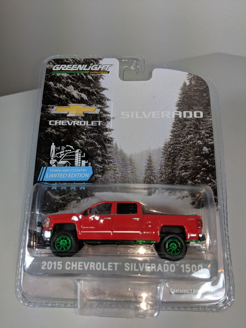 1:64 2015 Chevrolet Silverado, Red, with Snow Plow and Lift Kit Green Machine