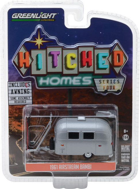 1:64 Hitched Homes Series 4 - Airstream 16' Bambi with Red and White Awning