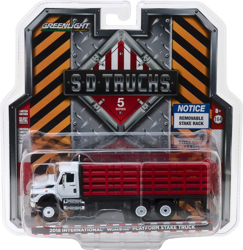 1:64 S.D. Trucks Series 5 - 2018 International WorkStar Platform Stake Truck - Red