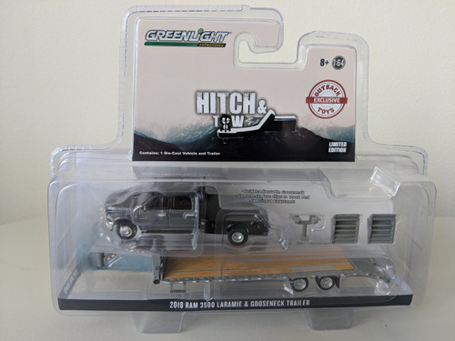 1:64 2018 Dodge Ram 3500 Laramie Dually Flatbed and Gooseneck Trailer