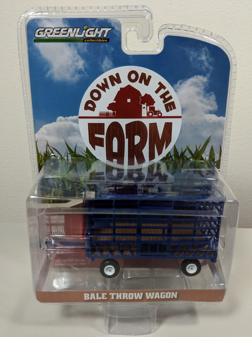 1:64 Down on the Farm Series 2 - Bale Throw Wagon - Blue