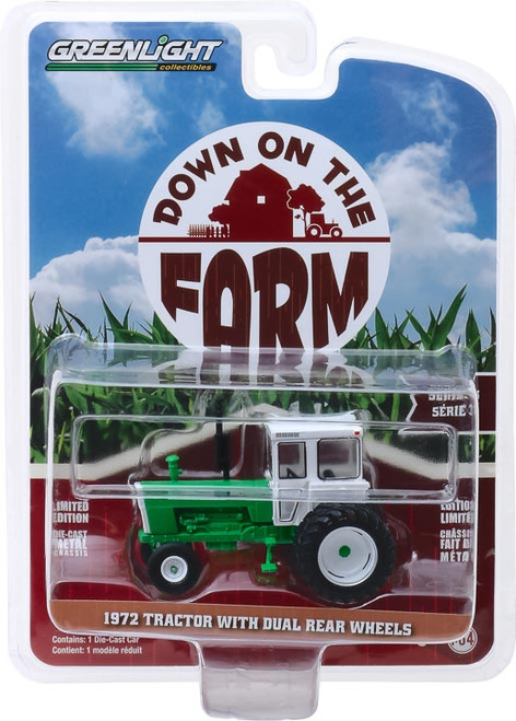 1:64 Down on the Farm Series 3 - 1972 Tractor with Dual Rear Wheels - White and Green