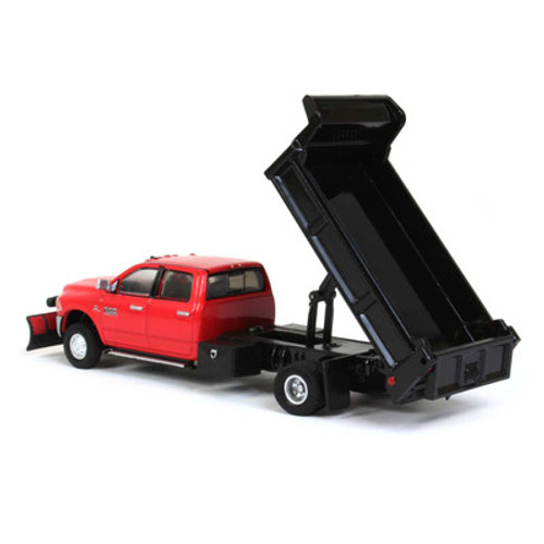 1:64 2018 Ram 3500 Laramie Dually, Red With Black Dump Bed And Snow Plow, Outback Exclusive