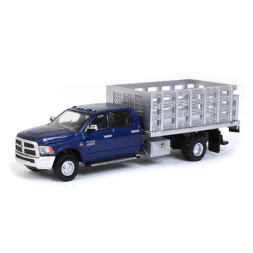 1:64 2018 Ram 3500 Laramie Dually, Blue With Silver Stake Bed, Outback Exclusive
