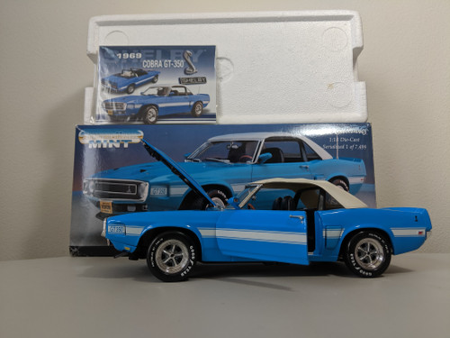 1:18 1969 Shelby Cobra GT-350 Mustang, Blue With White Top Up American Muscle Mint Edition by Ertl
