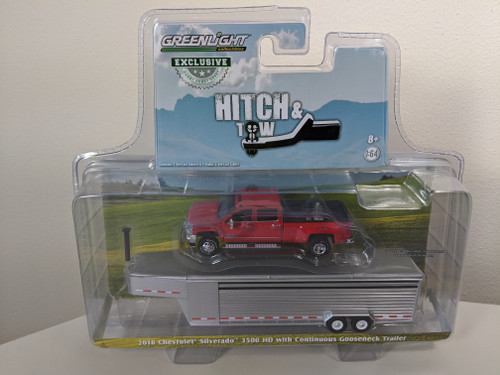 1:64 2018 Silverado 3500 HD Pickup – Red Hot w/Silver Metallic Continuous Gooseneck Livestock Trailer – OMT Exclusive