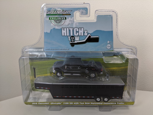 1:64 2018 Silverado 3500 HD Pickup – Black w/Black Two Row Horizontal Gooseneck Livestock Trailer – OMT Exclusive