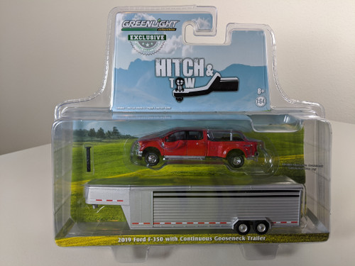 1:64 2019 Ford F-350 – Race Red w/Polished Aluminum Continuous Trailer – OMT Exclusive
