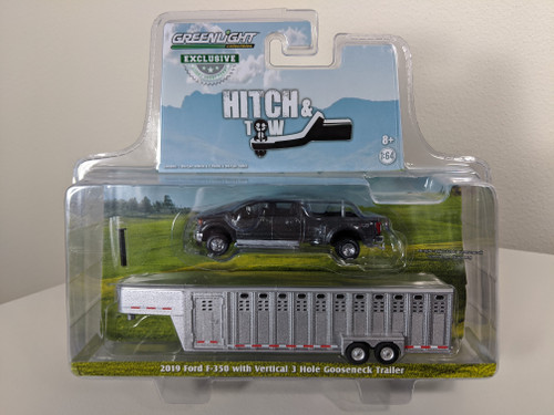 1:64 2019 Ford F-350 – Magnetic w/Ingot Silver 3 Hole Trailer – OMT Exclusive
