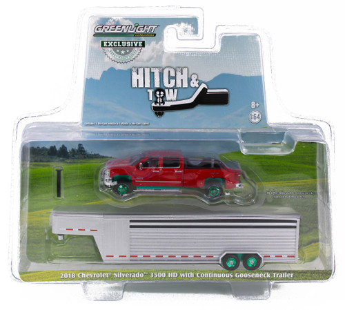 1:64 2018 Silverado 3500 HD Pickup – Red Hot w/Silver Metallic Continuous Gooseneck Livestock Trailer – OMT Exclusive-Green Machine
