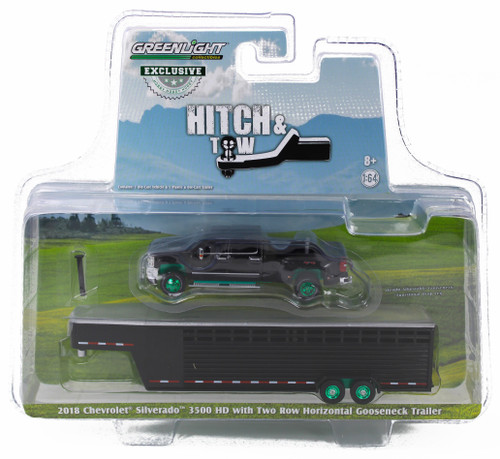 1:64 2018 Silverado 3500 HD Pickup – Black w/Black Two Row Horizontal Gooseneck Livestock Trailer – OMT Exclusive-Green Machine