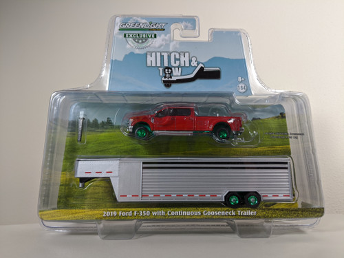 1:64 2019 Ford F-350 – Race Red w/Polished Aluminum Continuous Trailer – OMT Exclusive-Green Machine