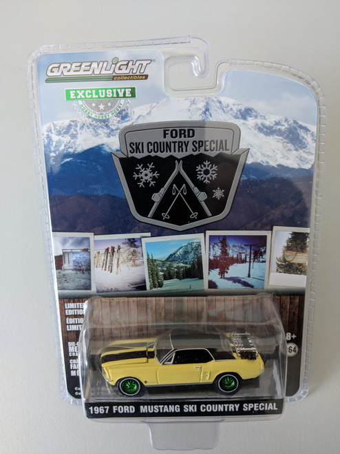 """1:64 1967 Ford Mustang Coupe """"Ski Country Special"""" - Breckenridge Yellow (Hobby Exclusive) -  Green Machine"""