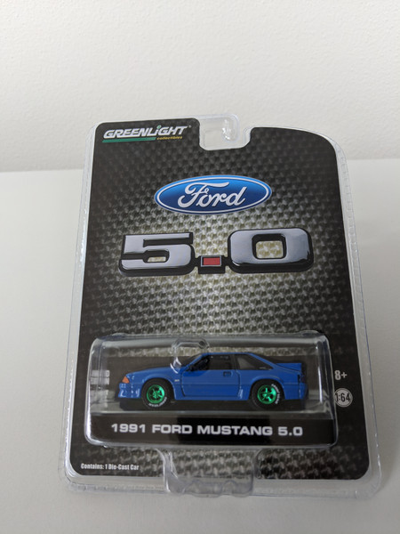 1:64 1991 Mustang GT 5.0 FB in Candy Apple Blue, Series 2, Green Machine, LBE Exclusive