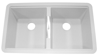 Ukinox 50/50 Double Bowl Sink, GUN3319-50-50WH (White)