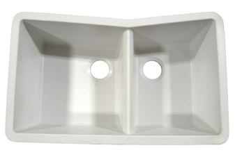 Ukinox 60/40 Double Bowl Sink, GUN3320-60-40WH (White)
