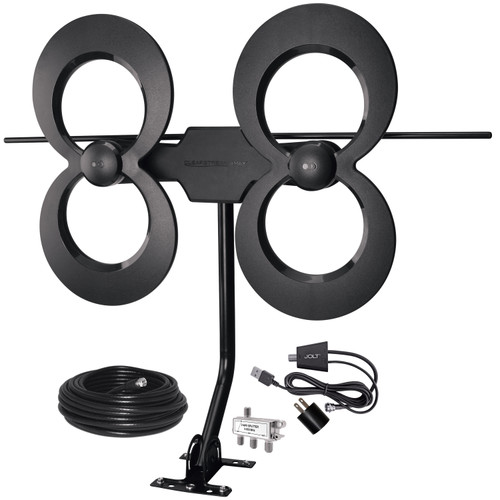 ClearStream 4MAX® COMPLETE UHF/VHF Outdoor HDTV Antenna with Amplifier, Mast, Coaxial Cable, and Splitter