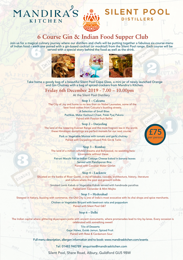 Gin and Indian Food Event Menu
