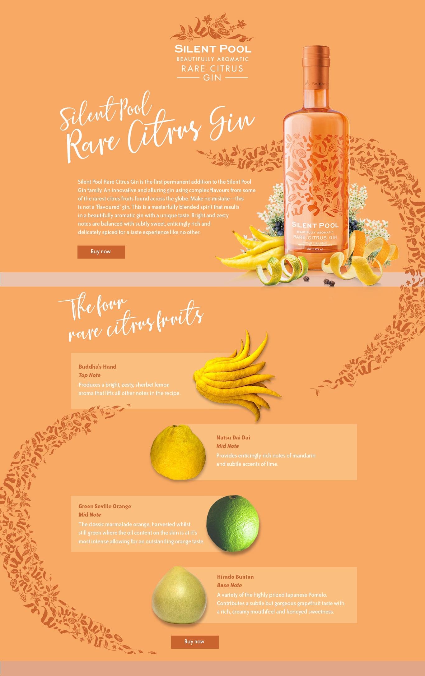 Rare Citrus Gin landing page
