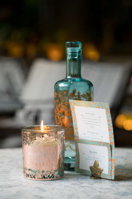 silent pool gin candle and menu