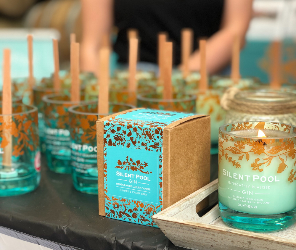 silent pool gin upcycled candles