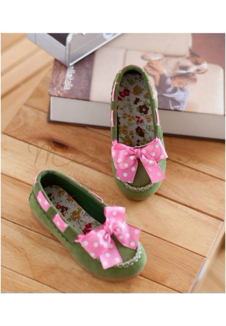 Polka Ribbon Classic Colored Kids Loafers