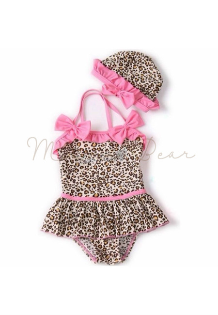 Leopard Halter Dress Kids Swimsuit 2pcs Set