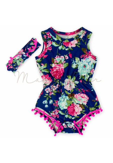 Summer Floral Tasseled Baby Romper With Headband