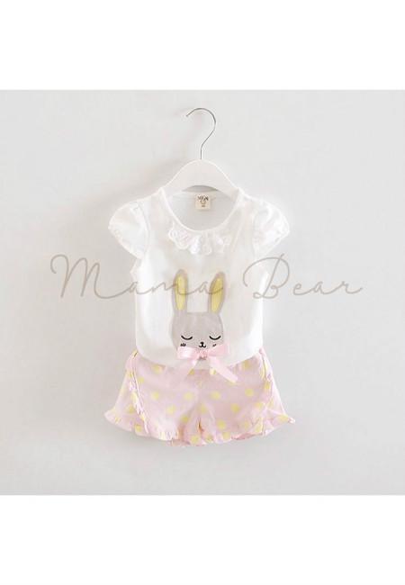 Sleeping Rabbit Top And Polka Shorts Clothing Set