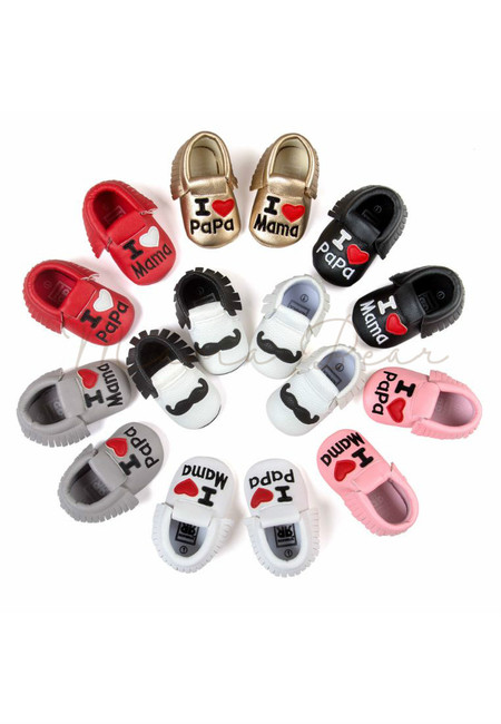I Love Mama and Papa Print Classic Baby Shoes