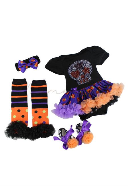 Studded Skull Baby Halloween Tutu Dress Set