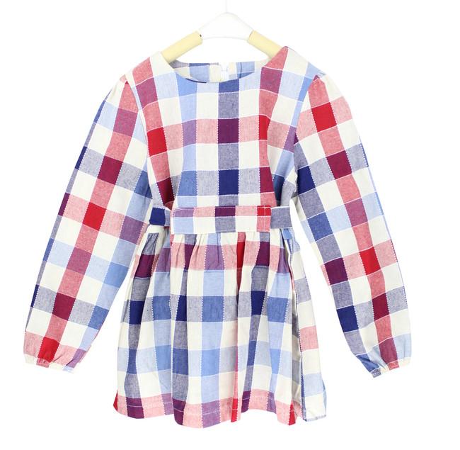 Simple Wrap Around Belt Plaid Dress