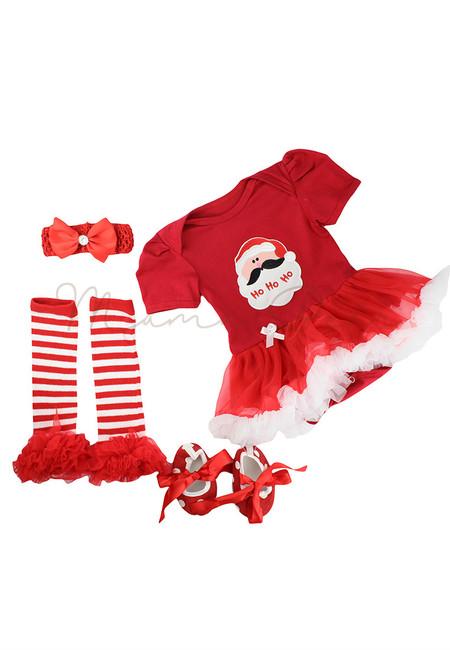 Red Santa Ho Ho Ho Baby Christmas Tutu Dress Set