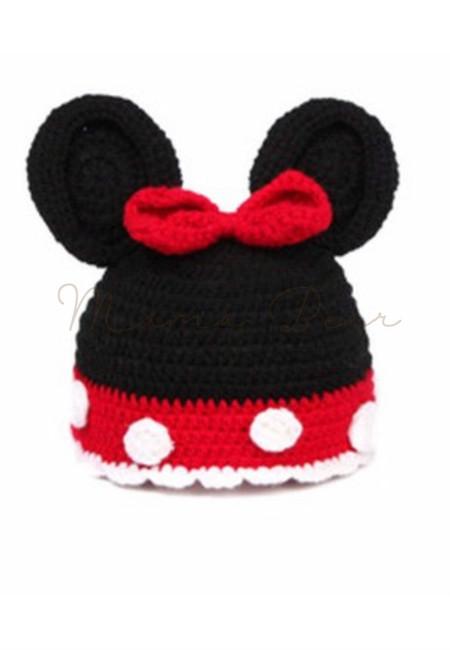 Little Mickey Baby Crochet Bonnet