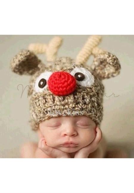 Christmas Reindeer Baby Crochet Bonnet