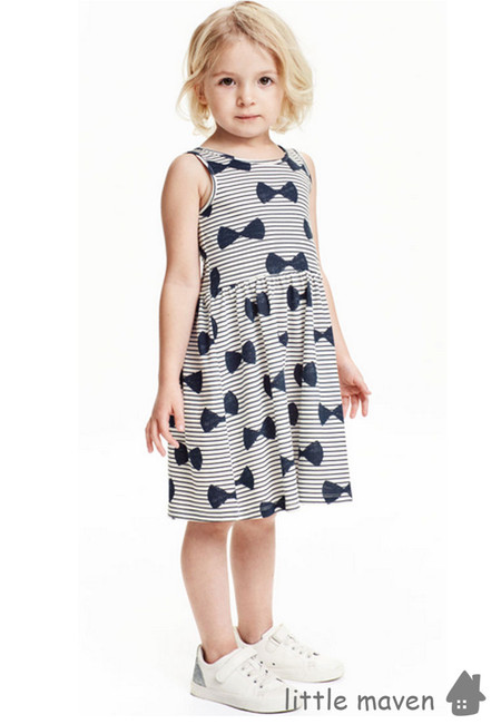 Little Maven Ribbon Print Kids Dress