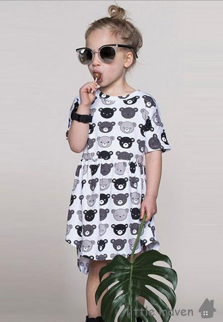 Little Maven Bear Print Kids Dress