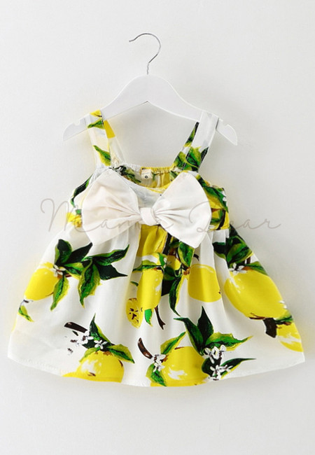 Summer Lemon Ribbon Sleeveless Dress