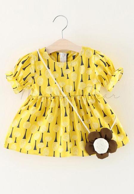 Little Tree Print Shortsleeve Dress with Sling Flower