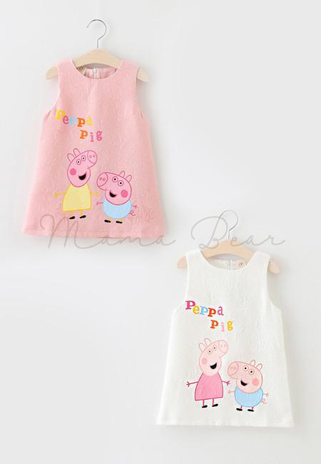 Peppa Pig Print Sleeveless Dress
