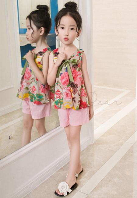 Ribbon Summer Floral Print Clothing Set