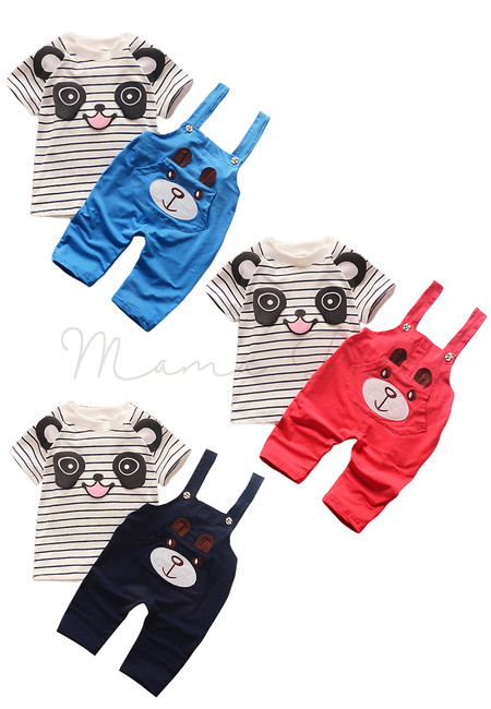 Panda Print Top With Bear Print Jumpsuit Kids Clothing Set
